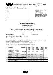 Angebot / Bestellung Mechatroniker - Hainsberger Metallwerk GmbH