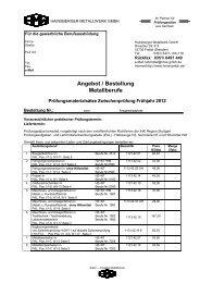 Angebot / Bestellung Metallberufe - Hainsberger Metallwerk GmbH