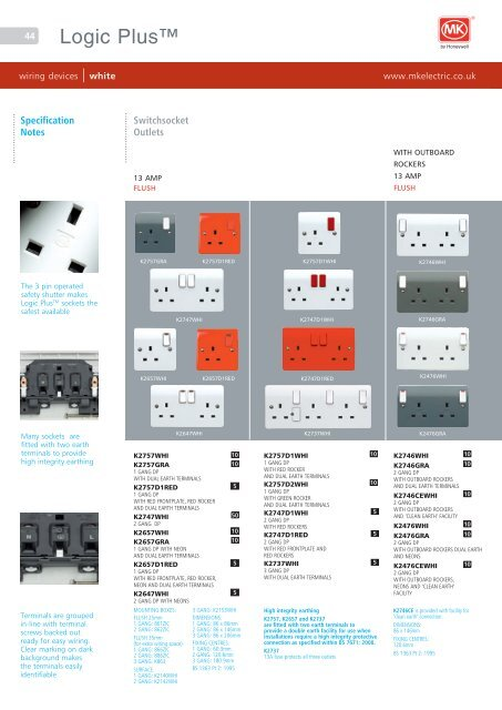 Mk Wiring Devices Catalogue - Wire Diagrams on