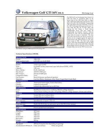 Volkswagen Golf GTI 16V(Mk 2) - Motorsports Almanac