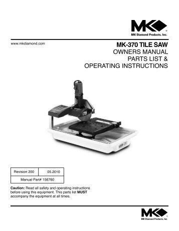 mk 170 tile saw manual