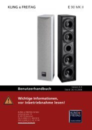 KLING & FREITAG E 90 MK II Benutzerhandbuch Wichtige ...