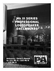 Mk III SERIES PROFESSIONAL LOUDSPEAKER ... - Fender