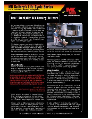 Distribution and Risk Management - MK Battery