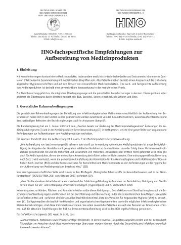 Empfehlungen zur Aufbereitung von Medizinprodukten - Deutscher ...