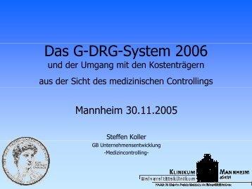 Das G-DRG-System 2006 - Deutsche Gesellschaft für Hals-Nasen ...