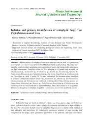 Isolation and primary identification of endophytic fungi from - Maejo ...