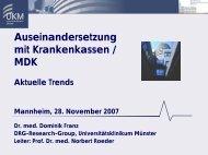 Auseinandersetzung mit Krankenkassen / MDK - Aktuelle Trends
