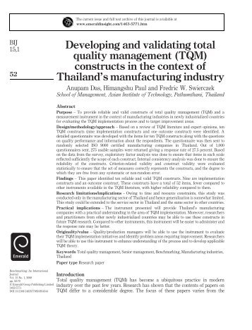 Developing and validating total quality management (TQM ... - IEM