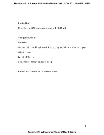 Up-regulation of G2/M phase-specific genes by ... - Plant Physiology