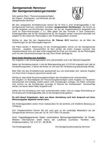 Anmeldung KiTa - Samtgemeinde Hemmoor