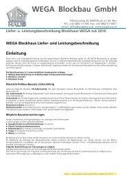 Liefer- und Leistungsbeschreibung Blockhaus - WEGA-Haus