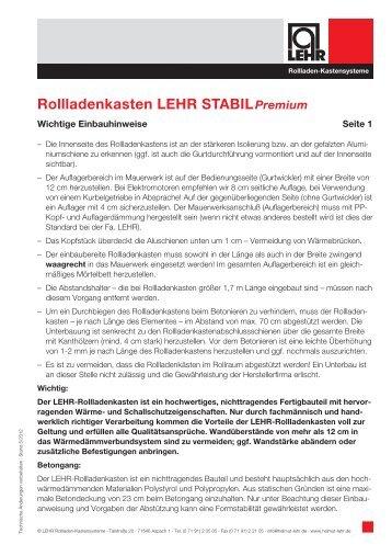 STABIL Premium - LEHR Rollladen-Kastensysteme