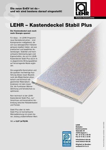 deckel Stabil Plus - LEHR Rollladen-Kastensysteme