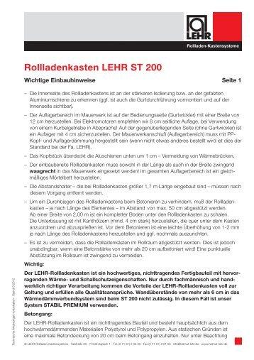 Rollladenkasten LEHR ST 200 - LEHR Rollladen-Kastensysteme