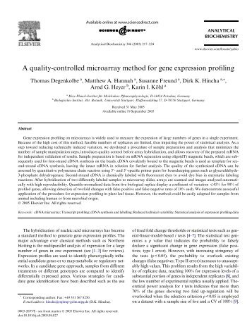 A quality-controlled microarray method for gene expression profiling