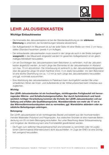 LEHR JALOUSIENKASTEN - LEHR Rollladen-Kastensysteme