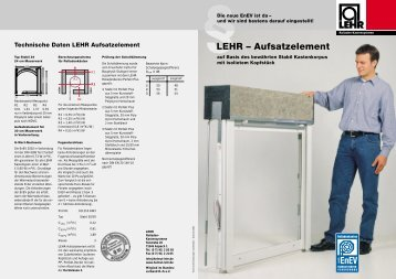 LEHR – Aufsatzelement - LEHR Rollladen-Kastensysteme