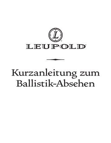Kurzanleitung zum Ballistik-Absehen - bei der Helmut Hofmann GmbH