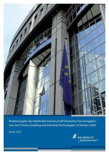 Enabling and Industrial Technologies - Helmholtz-Gemeinschaft ...