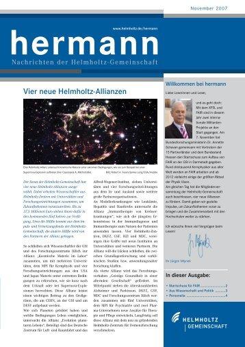 Vier neue Helmholtz-Allianzen - Helmholtz-Gemeinschaft Deutscher ...