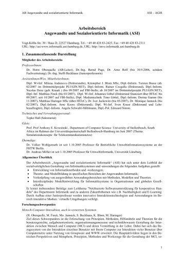 ASI - Fachbereich Informatik - Universität Hamburg