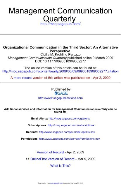 Organizational Communication in the Third Sector - Management ...