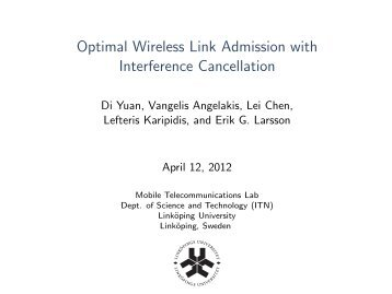 Optimal Wireless Link Admission with Interference Cancellation