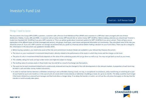 Investor's Fund List - Adviserzone