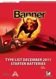 TYPE LIST DECEMBER 2011 STARTER BATTERIES