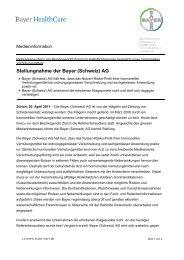 Stellungnahme der Bayer (Schweiz) AG