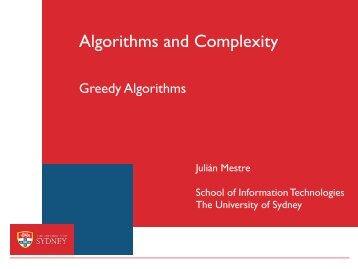 Greedy - The University of Sydney