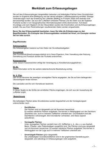 Merkblatt zum Erhebungsbogen