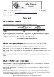 Price List Studio Photo Session - Lou Osborne Photography