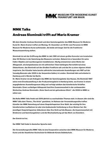 MMK Talks Andreas Slominski trifft auf Mario Kramer - Museum für ...