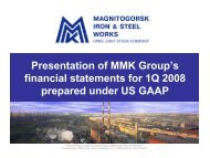 Presentation of MMK Group's financial statements for 1Q 2008 ...