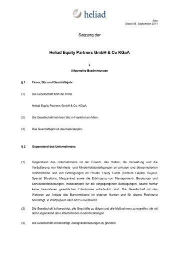Satzung Der Heliad Equity Partners Gmbh Co Kgaa