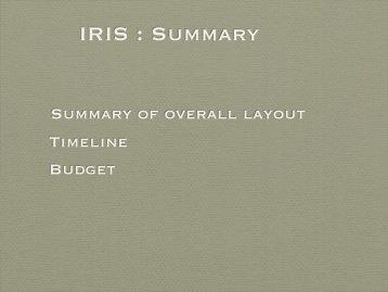 IRIS : Summary