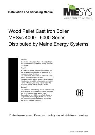Wood Pellet Cast Iron Boiler MESys 4000 - Maine Energy Systems