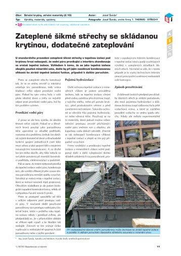 Zateplené šikmé střechy se skládanou krytinou, dodatečné ...