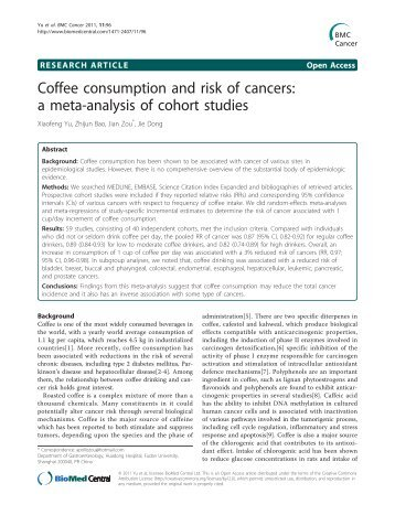Coffee consumption and risk of cancers: a meta ... - BioMed Central