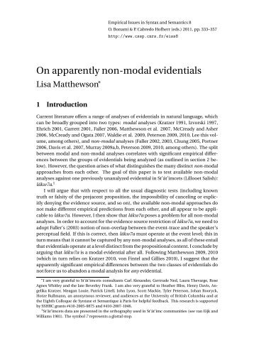 On apparently non-modal evidentials - CSSP - CNRS