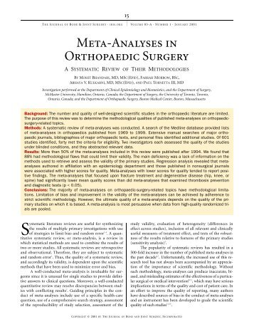 Meta-Analyses in Orthopaedic Surgery - The Journal of Bone & Joint ...