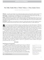 The Public Health Risks of Media Violence: A Meta-Analytic Review