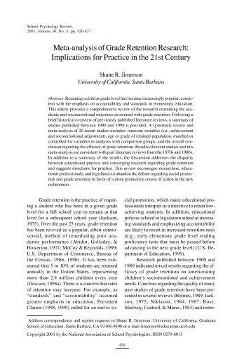 Meta-analysis of grade retention research - Gevirtz School of ...