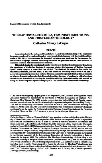 THE BAPTISMAL FORMULA, FEMINIST OBJECTIONS, AND ...