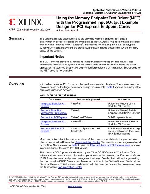 Xilinx XAPP1022 Using the Memory Endpoint Test Driver (MET