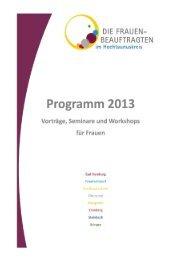 Jahresprogramm der Frauenbeauftragten 2013 - Hochtaunuskreis