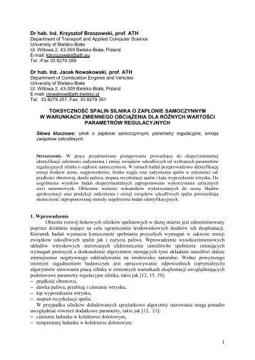 1 Dr hab. Inż. Krzysztof Brzozowski, prof. ATH Dr hab. Inż. Jacek ...