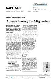 Neue Luzerner Zeitung: Auszeichnung für Migranten - Caritas Luzern